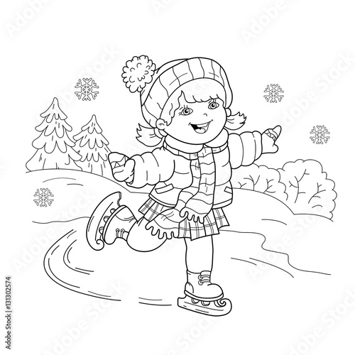 coloring page outline of cartoon girl skating winter sports coloring book for kids