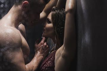 Fototapeta Woman and man in the shower obraz