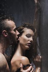 Printed kitchen splashbacks Artist KB Naked man kissing woman