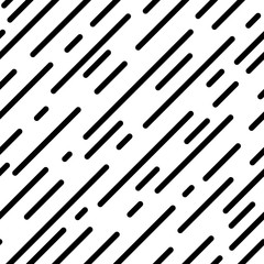 Seamless dashed diagonal background. Repeating vector pattern. Oblique lines of different lengths. Abstract geometric lines. Black strokes on white backdrop.