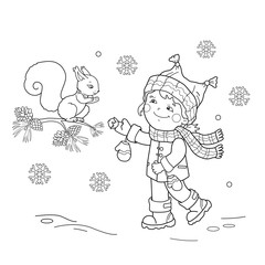 Coloring Page Outline Of cartoon girl feeding a squirrel. Winter. Coloring book for kids
