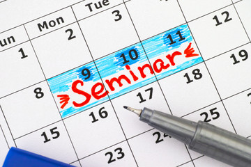 Reminder Seminar in calendar with blue pen