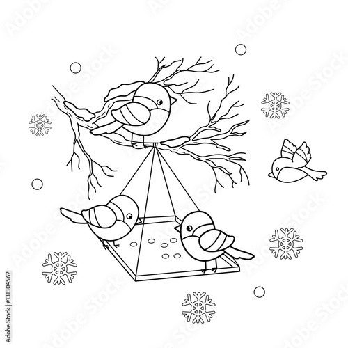 Coloring Page Outline Of Cartoon Birds In The Winter Bird Feeder Bullfinch Titmouse