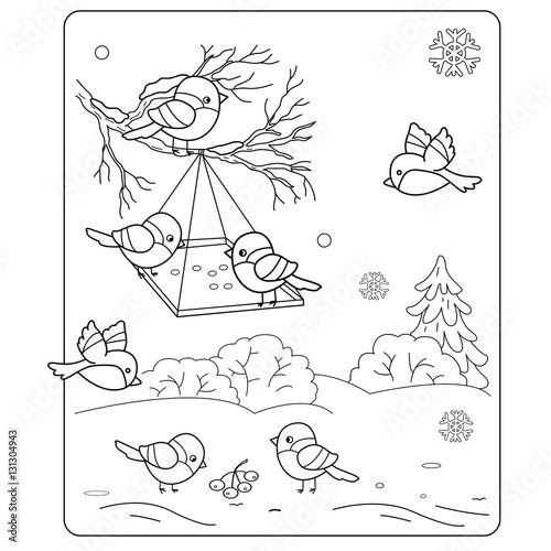 Coloring Page Outline Of Cartoon Birds In The Winter Bird Feeder Bullfinch Titmouse