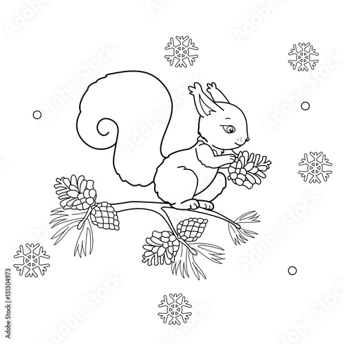 Coloring Page Outline Of Cartoon Squirrel With Cone Winter Book For Kids
