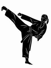 silhouette of martial athletes. vector drawing