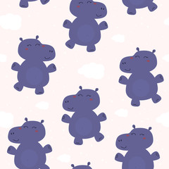 Cute background with cartoon blue whales. Baby shower design. Seamless pattern can be used for wallpapers, pattern fills, surface textures