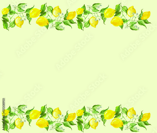watercolor vintage frame border with a pattern a lemon tree