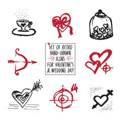 Set of retro hand-drawn icon for valentines and wedding day