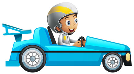 Racer in blue racing car