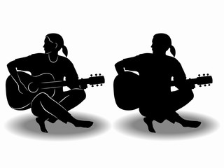 silhouette of a guitar player. vector drawing