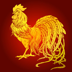Handsome rooster gold on red background