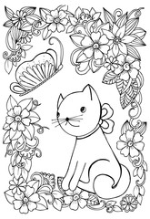 Vector doodle floral frame and little cat