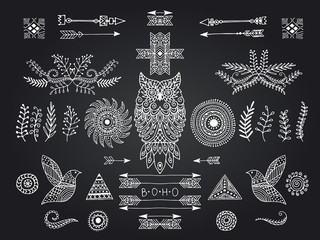 boho handmade set of elements