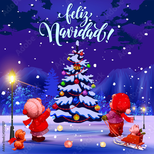 Christmas Eve In Spanish.Merry Christmas Congratulations In Spanish Illustration