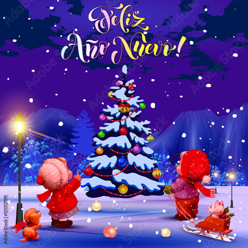happy new year congratulations in spanish illustration children in the park looking at - Merry Christmas And Happy New Year In Italian