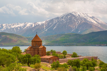 Akdamar Island in Van Lake. The Armenian Cathedral Church of the Holy Cross (from 10th century)