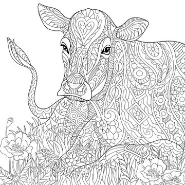 Stylized cartoon cow, isolated on white background. Freehand sketch for adult anti stress coloring book page with doodle and zentangle elements.