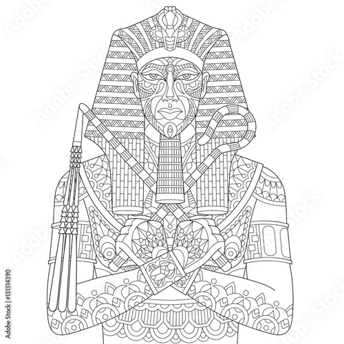 Stylized Cartoon Ancient Egyptian Pharaoh Isolated On White Background Freehand Sketch For Adult Anti