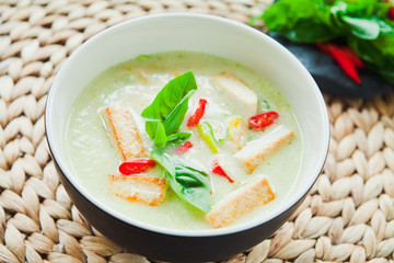 Green Curry soup with fried Tofu.