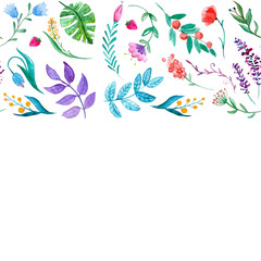 Watercolor pattern with flowers, tropical plants and leaves