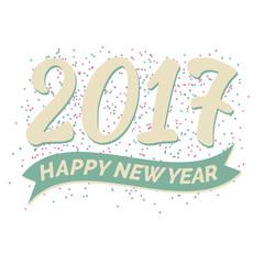 Grusskarte Neujahr 2017 mit Jahr in goldfarbener Schrift