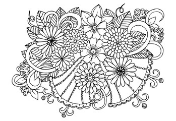 Party ball in black and white for coloring. Xmas illustration for art therapy coloring book