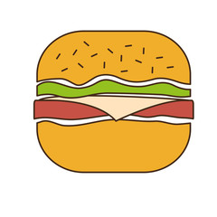 hamburger fast food related icon image vector illustration design