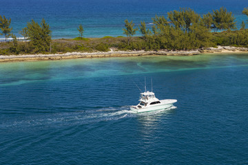 Small pleasure boat near Nassau, Capital of the Bahamas. The Caribbean tropical paradise.