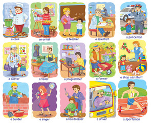 Set of cute people of different professions. Poster. Illustration for children