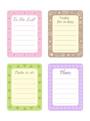 "Set of four planners ""To-Do List"" for organizing a day. Vector illustration"