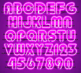 Glowing Purple Neon Alphabet with letters from A to Z and digits from 0 to 9 with wires, tubes, brackets and holders. Shining and glowing neon effect. Every letter or digit is separate unit.