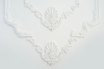 element of the architectural frame moulding on the wall