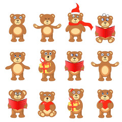 set of Teddy bears in different poses