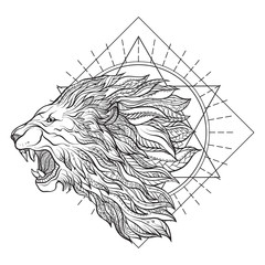 Vector ornamental Lion head with sacred geometry. Hand drawn ill
