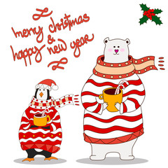 Funny penguin and polar bear.Christmas hat. vector