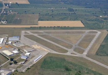 aerial view of the municipal airport in brantford, Ontario Canada