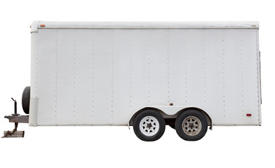 Side view of isolated four wheel white utility trailer.