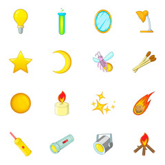 Sources of light icons set. Cartoon illustration of 16 sources of light vector icons for web