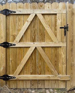 Basic new backyard wood gate. with black metal hardware. Vertical.