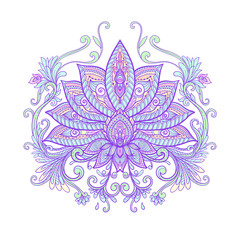 Vector ornamental Lotus flower, ethnic art, patterned Indian pai
