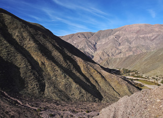 Argentina, Jujuy Province, Purmamarca, View of the surrounding mountains.