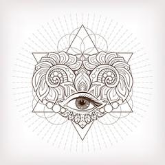 Vector ornamental Love Heart, sacred geometry, eye. Hand drawn i