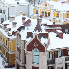 roofs covered with snow in the cold weather