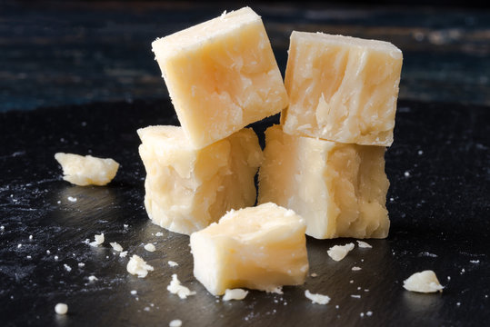 White Cheddar Cheese Cubes on a Black Slate