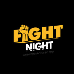 Fight nigh. Modern professional fighting poster template logo design with fist. Isolated fight logotype vector illustration.