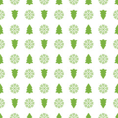 Holiday seamless pattern with christmas tree and snowflakes. Vec