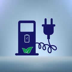 Electric car charging station sign icon