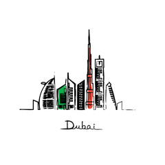 Dubai city landmarks flag colors