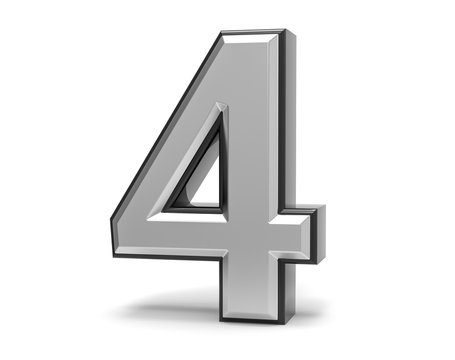 3D Isolated Metal Metallic 4 Four Number Illustration.